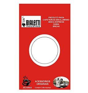 Cartela com 3 Borrachas para reposição Cafeteiras Moka Bialetti