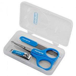 Kit Manicure com Estojo Azul Kababy