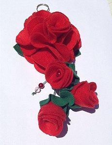 Chaveiro Flor  Vermelha em Feltro