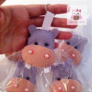 Chaveiro Hipopotamo -  Kit 10 Lembracinhas Feltro