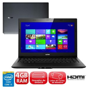 Notebook LNV, Intel Core i3-4005U, Disco 500GB, Memória 4GB, DVDRW-CDRW, 14.0 HD LED, Windows 8.1 Professional 64 bits