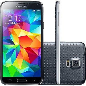 """Smartphone Galaxy  S5 Duos G900M Preto, Tela 5.1 Anterior       Próximo Clique na miniatura para ampliar << Voltar à lista de produtos Smartphone Galaxy S5 Duos G900M Preto, Tela 5.1"""", Quad Core, Super Amoled QC 2.5GHZ, Câmera 16MP, Memória 16GB - Samsung"""