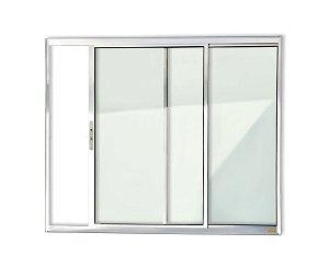 Janela de Correr 2 Folhas s/ Grade em Alumínio Brilhante c/ Vidro Liso - Brimak Confort