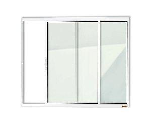 Janela de Correr 2 Folhas s/ Grade em Alumínio Branco c/ Vidro Liso - Brimak Confort