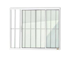 Janela de Correr 2 Folhas c/ Grade em Alumínio Branco c/ Vidro Liso - Brimak Confort