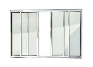 Janela de Correr 4 Folhas s/ Grade em Alumínio Brilhante c/ Vidro Liso - Brimak Confort