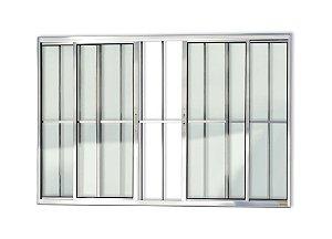 Janela de Correr c/ Grade em Alumínio Brilhante c/ Vidro Liso - Brimak Confort