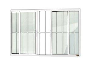 Janela de Correr c/ Grade em Alumínio Branco c/ Vidro Liso - Brimak Confort