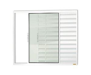 Veneziana 3 Folhas s/ Grade em Alumínio Branco c/ Vidro Liso - Brimak Confort