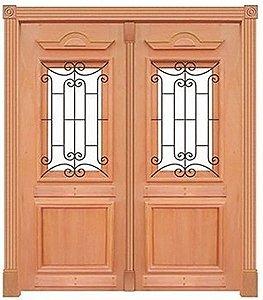 Porta de Abrir 2 Folhas em Madeira Cedro Arana Realeza 210 Com Visor Montada no Batente de 14 Cm Sem Ferragem - Casmavi