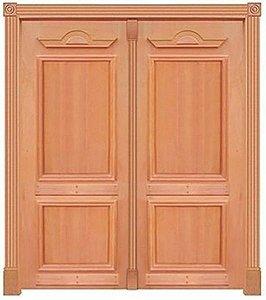 Porta de Abrir 2 Folhas em Madeira Cedro Arana Realeza 230 Montada no Batente de 14 Cm Sem Ferragem - Casmavi