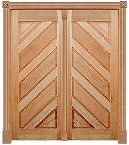 Porta de Abrir (Giro) Topázio Diagonal 250 C/ 2 Folhas em Madeira Cedro Arana S/ Ferragem Batente 14 Cm - Casmavi