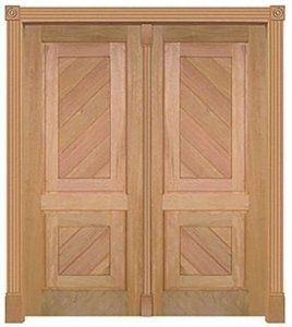 Porta de Abrir (Giro) CSMV 2 Diagonal 255 C/ 2 Folhas em Madeira Cedro Arana S/ Ferragem Batente 14 Cm - Casmavi
