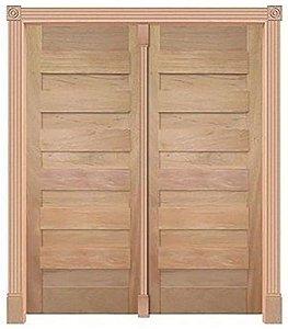 Porta Pivotante Espanhola 440 C/ 2 Folhas em Madeira Cedro Arana S/ Ferragem Batente 14 Cm - Casmavi