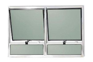 Maxim-Ar 2 Seções c/ Bandeira Fixa Inferior em Alumínio Brilhante c/ Vidro Mini Boreal - Brimak Plus