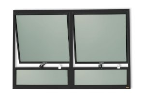 Maxim-Ar 2 Seções c/ Bandeira Fixa Inferior em Alumínio Preto c/ Vidro Mini Boreal - Brimak Plus