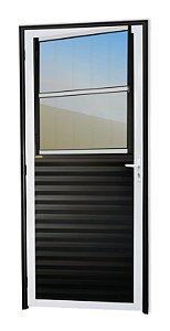 Porta de Sala Social c/ Grade em Alumínio Mix Preto c/ Vidro Mini Boreal - Brimak Super 25