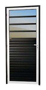 Porta de Cozinha 4 Vidros Fixos em Alumínio Mix Preto c/ Vidro Mini Boreal - Brimak Super 25