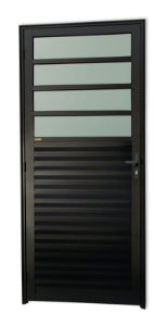 Porta de Cozinha 4 Vidros Fixos em Alumínio Preto c/ Vidro Mini Boreal - Brimak Super 25