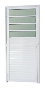 Porta de Cozinha 4 Vidros Fixos em Alumínio Branco c/ Vidro Mini Boreal - Brimak Super 25