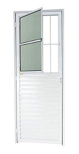 Porta de Sala Social c/ Grade em Alumínio Branco c/ Vidro Mini Boreal - Brimak L-25