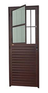 Porta de Sala Social c/ Grade em Alumínio Corten c/ Vidro Mini Boreal - Brimak L-25