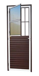 Porta de Sala Social c/ Grade em Alumínio Mix Corten c/ Vidro Mini Boreal - Brimak L-25