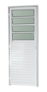 Porta C/ Basculante em Alumínio Branco C/ Vdr. Mini Boreal - BRIMAK L-25