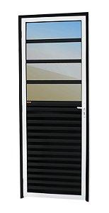 Porta de Cozinha 4 Vidros Fixos em Alumínio Mix Preto c/ Vidro Mini Boreal - Brimak L-25