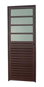 Porta de Cozinha 4 Vidros Fixos em Alumínio Corten c/ Vidro Mini Boreal - Brimak L-25