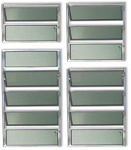 Basculante 1 Seção em Alumínio Brilhante c/ Vidro Mini Boreal - Brimak Plus