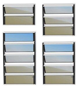 Basculante 1 Seção em Alumínio Mix Preto c/ Vidro Mini Boreal - Brimak Plus
