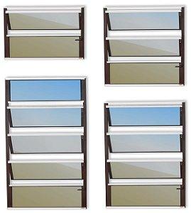 Basculante 1 Seção em Alumínio Mix Corten c/ Vidro Mini Boreal - Brimak Plus