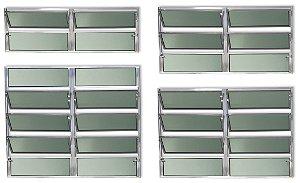 Basculante 2 Seções em Alumínio Brilhante c/ Vidro Mini Boreal - Brimak Plus