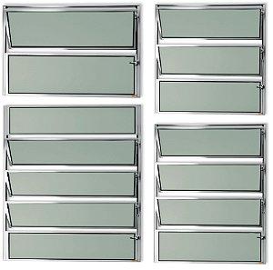 Basculante 1 Seção em Alumínio Brilhante c/ Vidro Mini Boreal - Brimak Master