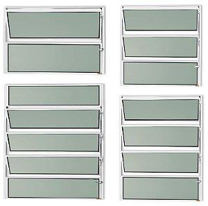 Basculante 1 Seção em Alumínio Branco c/ Vidro Mini Boreal - Brimak Master