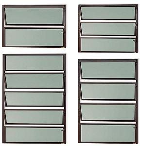Basculante 1 Seção em Alumínio Corten c/ Vidro Mini Boreal - Brimak Master