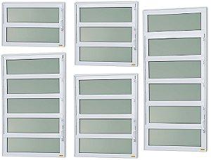 Basculante 1 Seção em Alumínio Branco c/ Vidro Mini Boreal - Brimak Elite