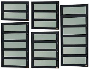 Basculante 1 Seção em Alumínio Preto c/ Vidro Mini Boreal - Brimak Elite