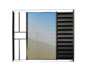 Veneziana 3 Folhas c/ Grade em Alumínio Mix Preto c/ Vidro Liso - Brimak Confort