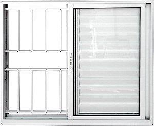 Janela Veneziana 3 Fls Com Grade Alumínio Branco - SPJ Linha 25