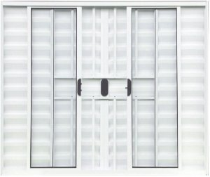 Janela Veneziana 6 Fls Com Grade Alumínio Branco - SPJ Modular