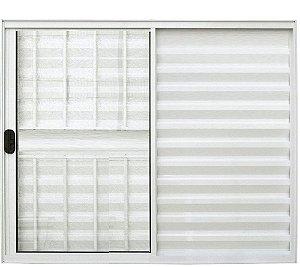 Janela Veneziana 3 Fls Com Grade Alumínio Branco - SPJ Modular