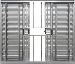 Janela Veneziana 6 Fls Com Grade Alumínio Brilhante - SPJ Modular