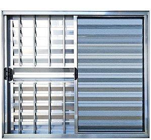 Janela Veneziana 3 Fls Com Grade Alumínio Brilhante - SPJ Modular