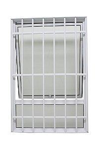 Janela Maxim-ar em Alumínio Branco Uma Seção Com Bandeira Fixa e Grade Vidro Mini Boreal - JAP 25