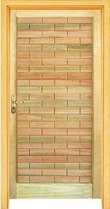 Porta Tijolinho em Madeira Mista c/ Batente de 14 cm Misto c/ Fechadura Tambor - Rick Esquadrias