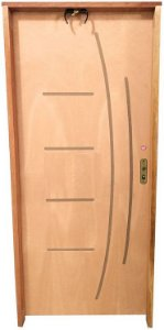 Porta Frisada Stander Dover c/ Batente de 14 cm Misto c/ Fechadura Tambor - Rick Esquadrias