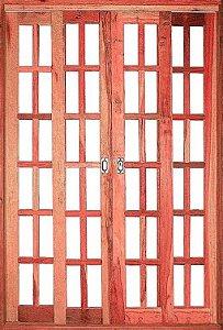 Porta Quadriculada de Correr Eucalipto Reto c/ Ferragem - Rick Esquadrias