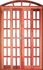 Porta Quadriculada de Correr Eucalipto Arco c/ Ferragem - Rick Esquadrias